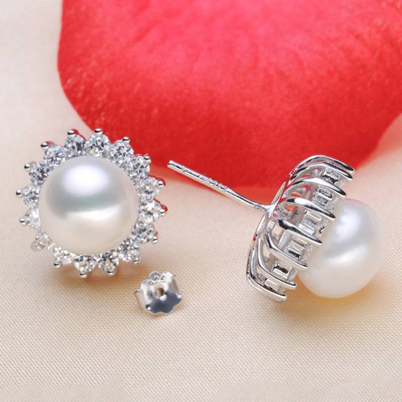 925 Sterling Silver Women Stud Earring Freshwater Pearls&AAA Zircon Fashion Charm Earring Jewelry For Female 9-9.5mm