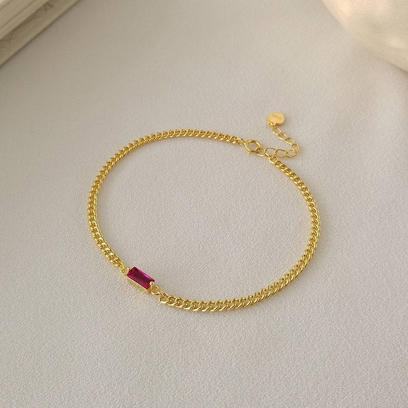 Korea New Style 925 Sterling Silver  for Women Simple Fashion Chic Red Zircon Chain Bracelets Bangle Jewelry