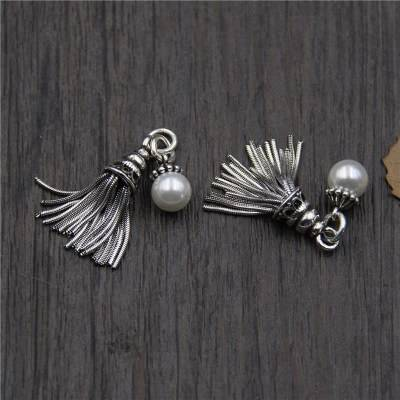 Vintage 925 Sterling Silver Charms DIY Bracelet Necklace Bangle Tassel Pearl Charms Pendant Charms For Jewelry Making Featured Image