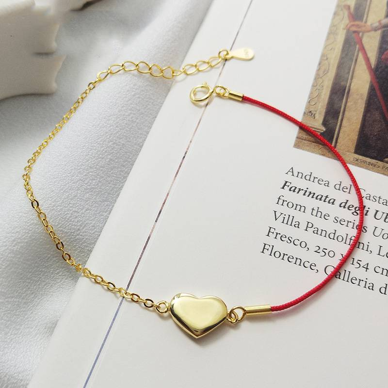 European American 925 Silver Trendy Concise Heart Gold Plate Red Rope Bracelets Fine Jewelry Valentine's Gift for Girlfriend