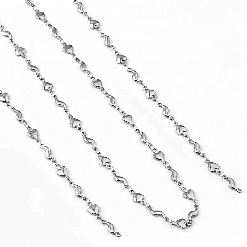 Top Quality Heart Link Chain Kalung Stainless Steel Chains Japanese Silver Chain Kalung Jewelry Making