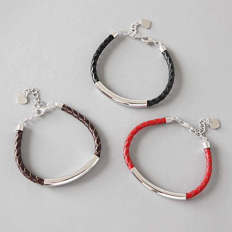 Korean 925 Sterling Silver Simple Red Black Leather Rope Bracelet Chain Student Couple Female