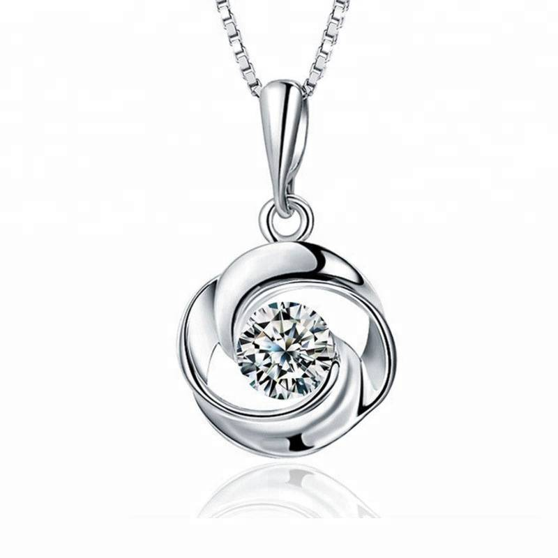 100% 925 Sterling silver Popular fashion rsilver rose flower zircon necklace pendant jewelry