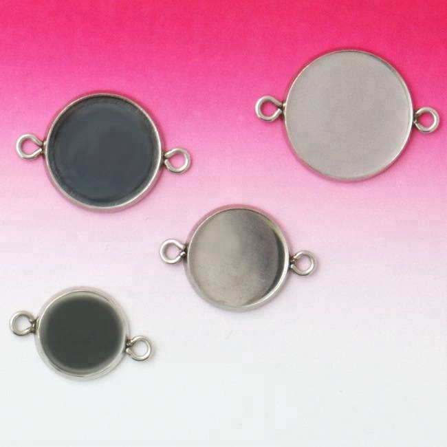 8-25mm Round Glass Cabochon Stainless Steel Bangle Base Bracelet Blank Tray Bezel Pendant Setting DIY Jewelry Findings