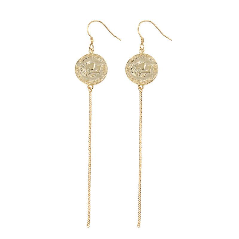 Korea New Style 925 Sterling Silver Earring kwa Wanawake Simple Fashion Chic sarafu Gold Tassel Earring Jewelry