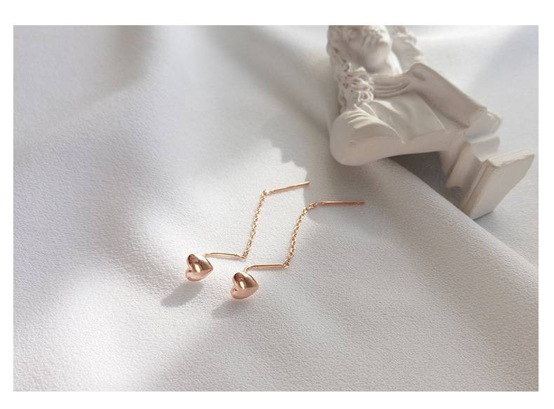 Delicate Wholesale Japan Korea Style 925 Sterling Silver Fashion Cute Sweet Heart Rose Gold Ear Wire Women Jewelry