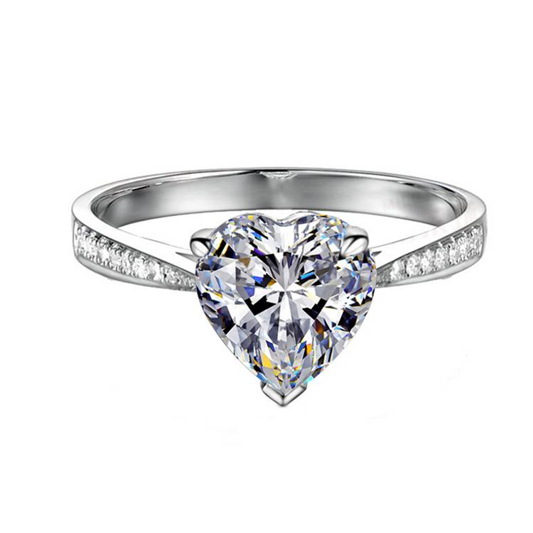 100% 925 Sterling Silver Adjustable Heart-shaped Ring For Women Zircon Marriage Proposal Engagement Rings