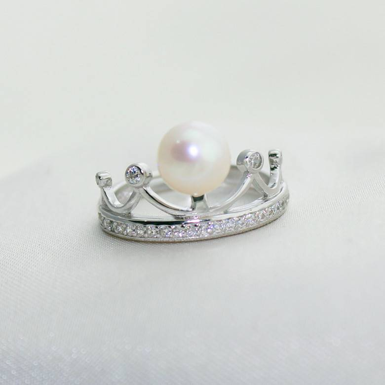 100% 925 Sterling Silver Exquisite 7-7.5MM Natural Pearl Crown ring for Women Jewelry
