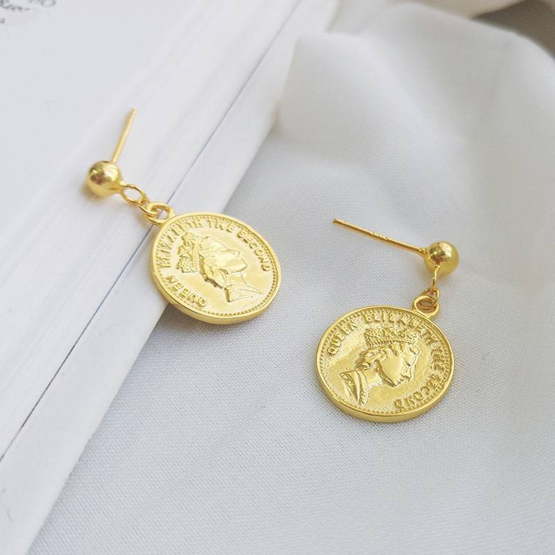 Korea New Style 925 Sterling Silver Earring for Women Simple Fashion Chic Coins Gold Drop Earring Jewelry