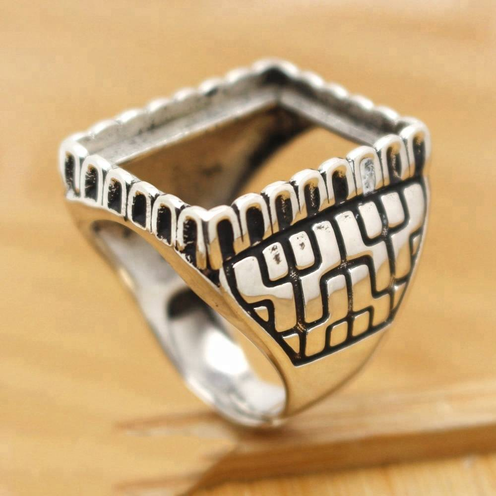 S925 silver sterling silver square mouth ring set inlaid beeswax silver retro custom men's ring 17*22mm