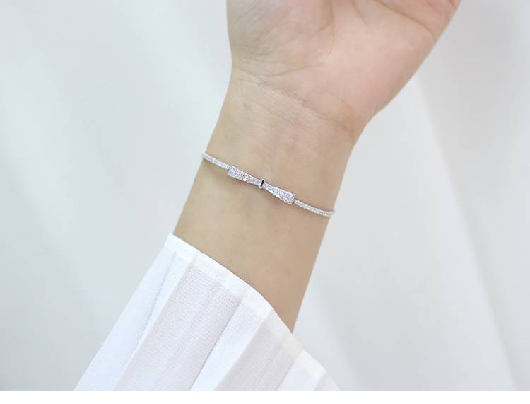 Delicate Wholesale Korea Style 925 Sterling Silver Fashion Sweet Beautiful Bowknot Adjustable Bracelets Bangle Women Jewelry