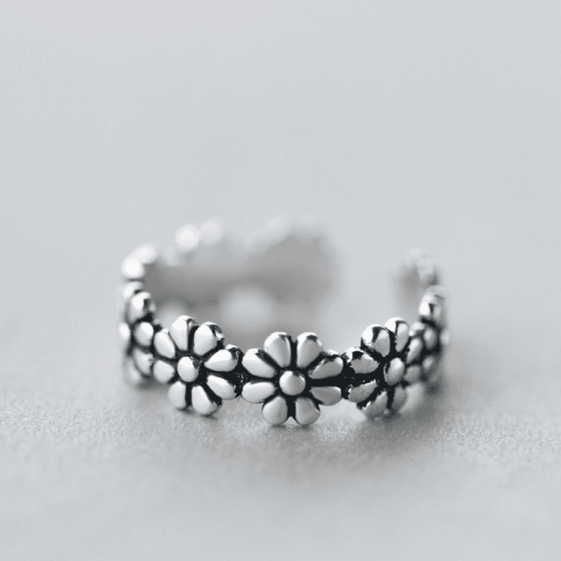 S925 Sterling Silver Simple Retro Vintage Sweet Ethnic Flower Open Ring Jewelry for Women