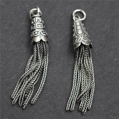 Vintage 925 Sterling Silver Charms Tassel DIY Bracelet Necklace Earrings Tassel Charms Pendant For Making Jewelry