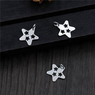 Real S925 Sterling Silver Stars Charms Accessories Jewelry DIY Lovely Hollow Findings Jewellery Handmade Small Pendants