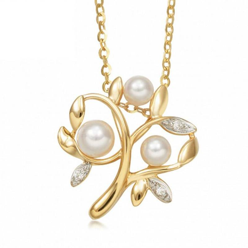 100% 925 Sterling Silver Branch Pearl Necklaces Pendant Gold Plated Accessories