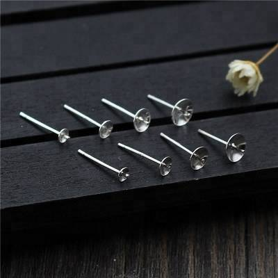 Wholesale 100% 925 Sterling Silver Ear Stud Settings Jewelry with 13mm long Pin and 3mm-6mm Round Base for DIY Earrings