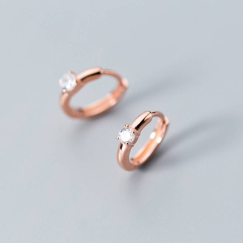 Factory Price 100% 925 Sterling Silver Fashion Concise Diamond Clip Hoop Earring Fine Jewelry for Female