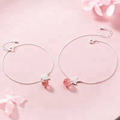 100% 925 Solid Sterling Silver Fashion Strawberry Crystal Quartz Maple Leaves Bracelet For 2018 Women Creative Fashion Jewelry