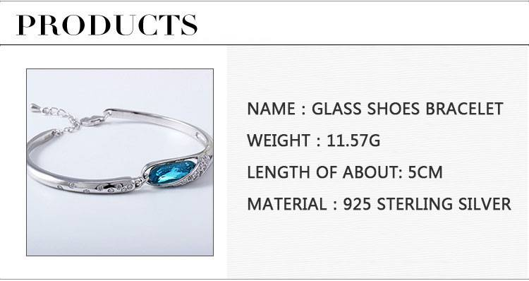 Fashion Classic 925 Sterling Silver Ladies Blue Zircon Bracelet Bangle Jewelry