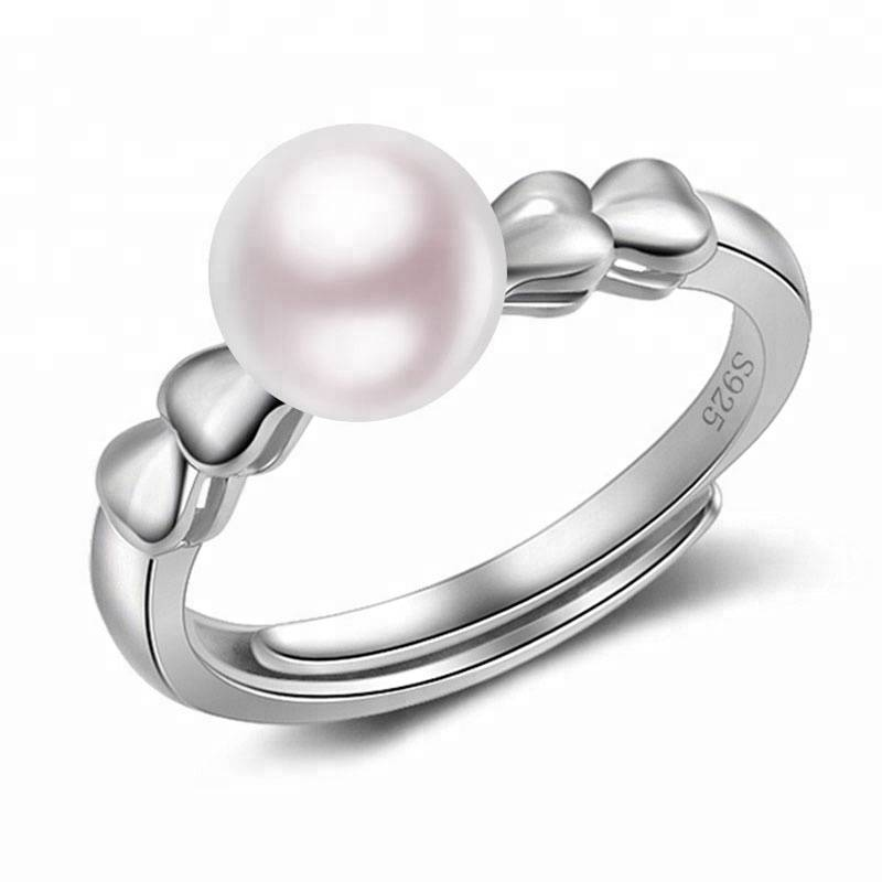 100% 925 Sterling Silver Fashion Ring hand jewelry hand decorated Natural Pearl Adjustable Rings for Women