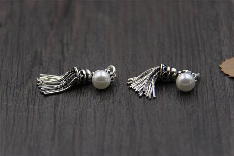 Vintage 925 Sterling Silver Charms DIY Bracelet Necklace Bangle Tassel Pearl Charms Pendant Charms For Jewelry Making