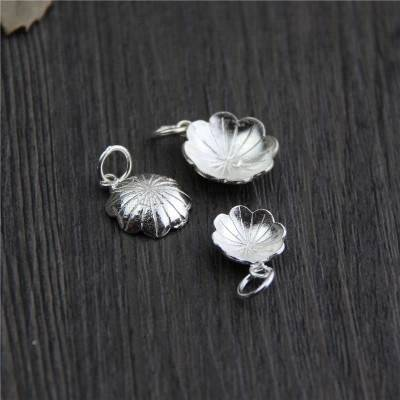 Vintage S925 Sterling Silver Charms Pendant DIY Bracelet Necklace Spacer Charms Lotus Leaf Charms For Jewelry Making