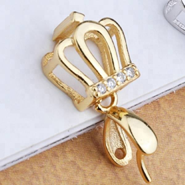 925 sterling silver Crown Tiara pendant buckle accessories for jade pendant clasp connector buckle silver buckle diy jewelry