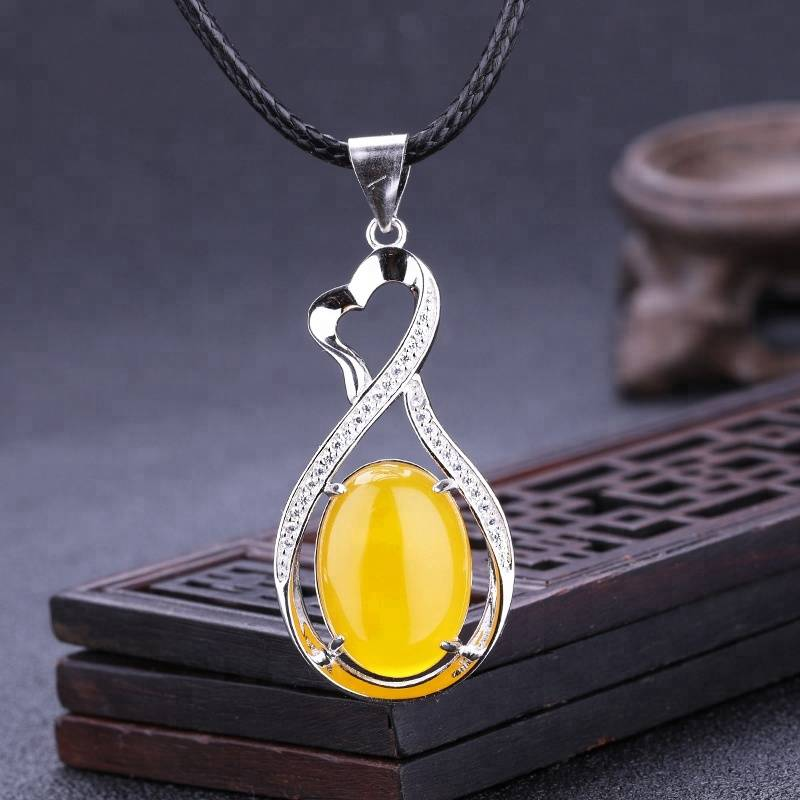 13*18mm S925 Sterling Silver Vintage Pendant Blank Inlaid Amber Wax Oval Pendant Blank