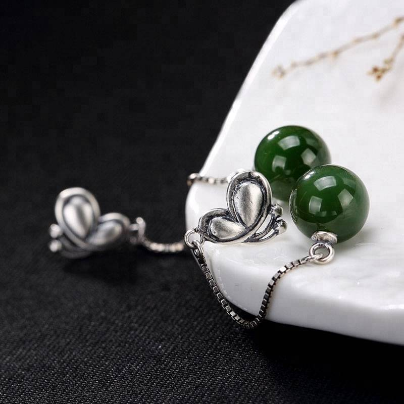 925 Sterling Silver Natural Hetian Green Jade Balls Bijoux Jasper Earrings for Women Ethnic Retro Butterfly Brincos Jewelry