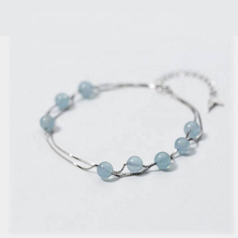 Factory Price 925 Sterling Silver Simple Fashion Blue Crystal Diameter Beads Fish Tail Pendants Bracelets Bangle