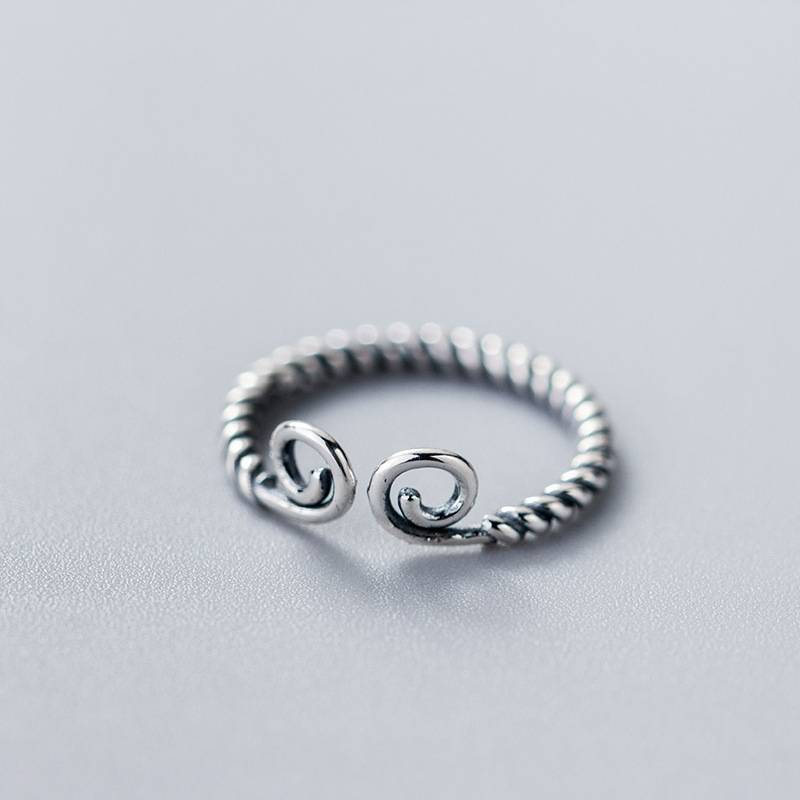 Pure 925 Sterling Silver European American New Design Creative Concise Twist Hoops Open Ring Fine Jewelry