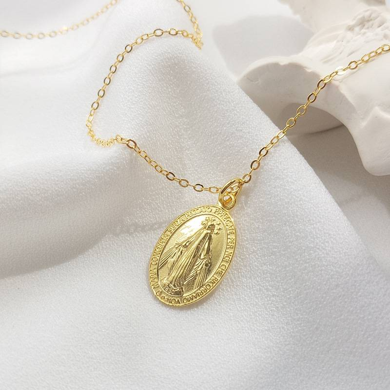 Pure 925 Silver European American New Design Creative Concise Maria Pendant Gold Charm Necklace Fine Jewelry