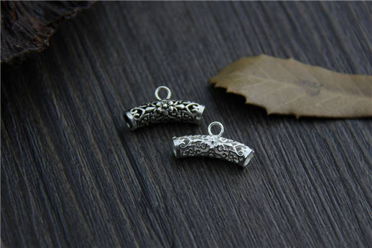100% 925 Sterling Silver Tube Beads Charms Thai Silver Bracelet Bead DIY Jewelry Accessories
