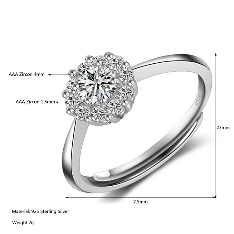 Processing 100% 925 Sterling Silver Zircon Adjustable Jewelry Wedding Ring For Woman