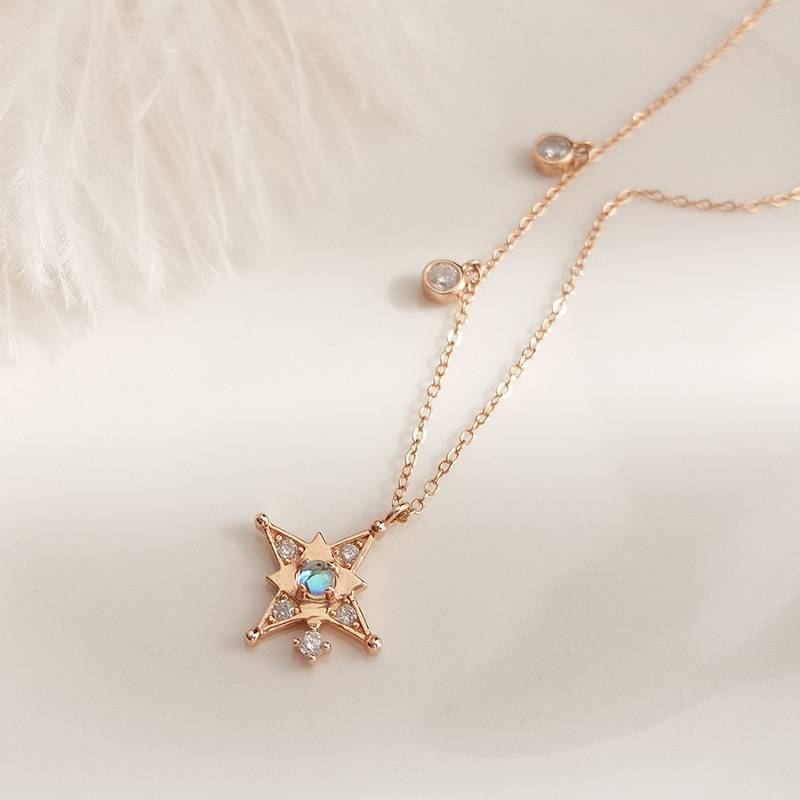Korea New Style 925 Sterling Silver  for Women Simple Fashion Chic Gold Zircon Pendant Necklace Jewelry Featured Image