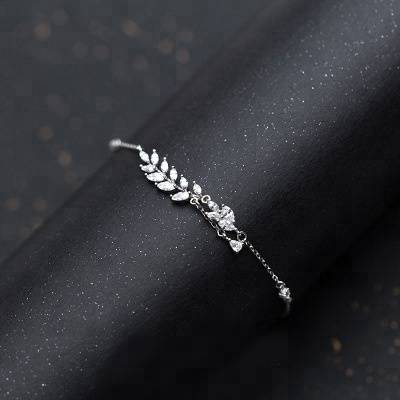 Fashion Leaves Cut AAA Cubic Zirconia Ladies Tennis Bracelet High Quality Silver 925 CZ Jewelry For Wedding Gift