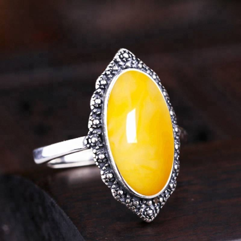 8*16mm S925 Sterling Silver Vintage Ring Empty Holder Inlaid Beeswax Turquoise Diy Women's Open Blank Ring