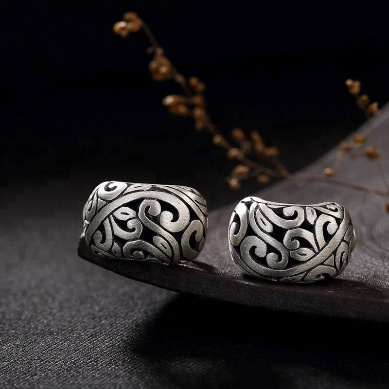 Auspicious Cloud Rings 925 Sterling-Silver-Jewelry for Women Retro Hollow Rings