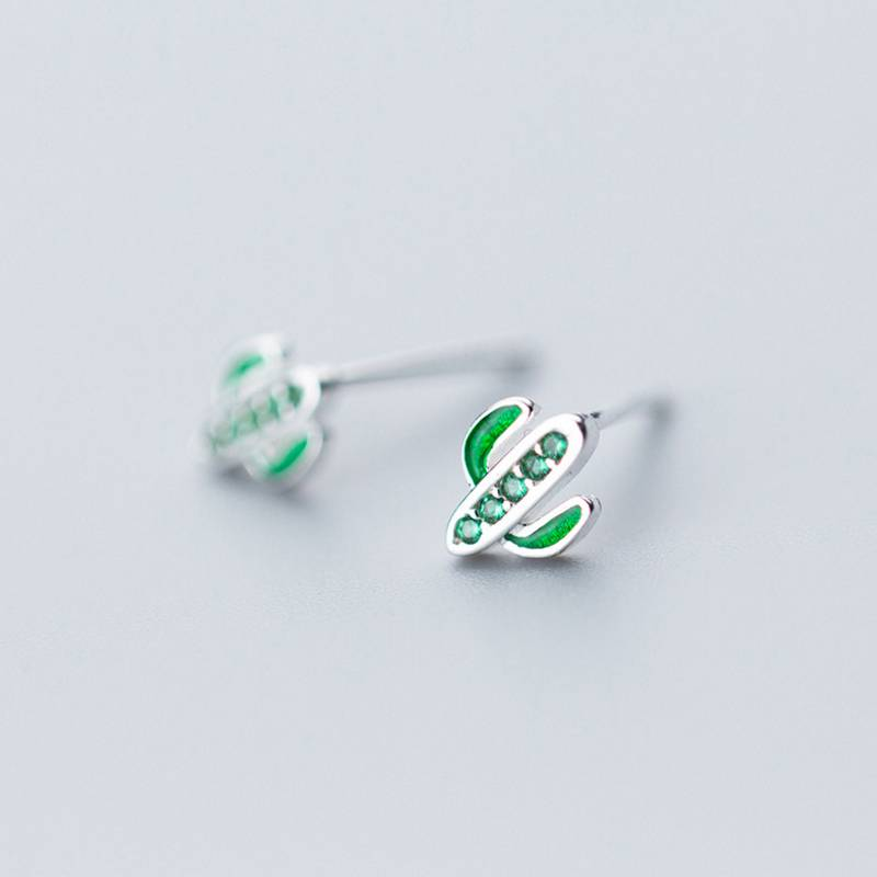 Korea New Design 925 Sterling Silver Simple Fashion Green Cactus Stud Earring Jewelry for Women