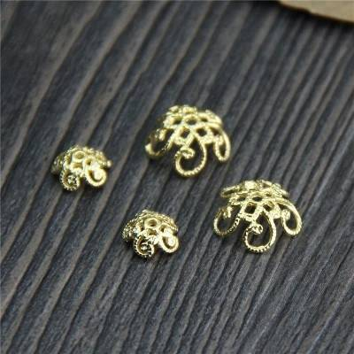 24K Gold Plated Bead Caps 925 Sterling Silver Flower Bead Caps Hollow Flower Bead Cap Jewelry Accessories