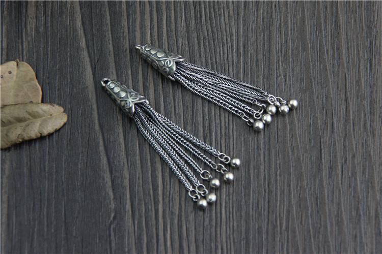 Real 925 Sterling Silver Chains Tassels Charms Accessories Jewelry DIY Bohemia Pendants Jewellery Findings Bijoux