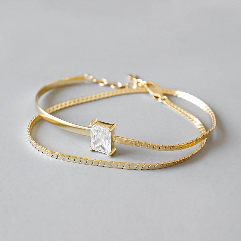 Pure 925 Sterling Silver Bangle Korea Hot Style Delicate Fashion Gold Square Diamond Adjustable Bracelets Jewelry for Women