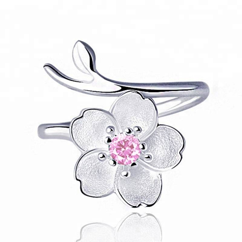 New Arrivals Cherry Blossoms Flower Rings 925 Sterling Silver for Women Female Adjustable Size Ring Fashion jewelry