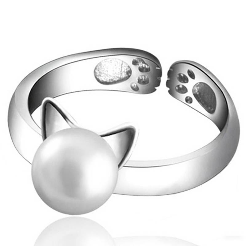 Natural Freshwater Pearl Rings For Women Genuine 925 Sterling Silver Cat Ear Open Finger Ring Jewelry
