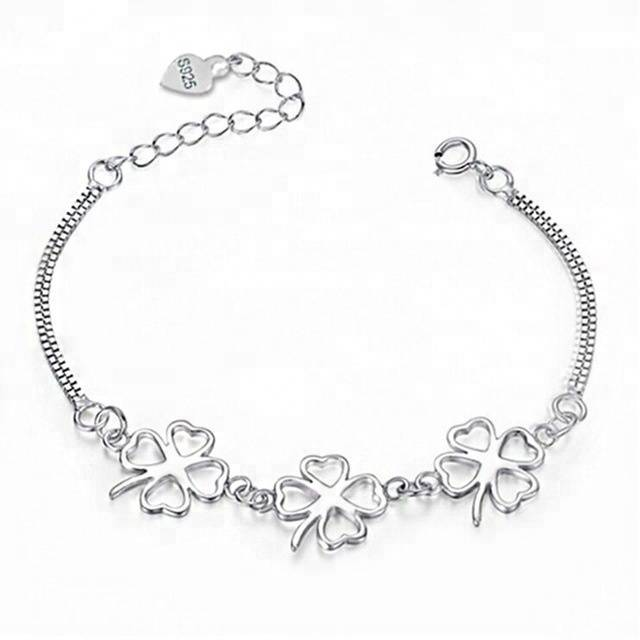 New Fashion 925 Sterling Silver Bangle Four Leaf Pesona Gelang & Bangle Wanita Party Wedding Jewelry Gifts