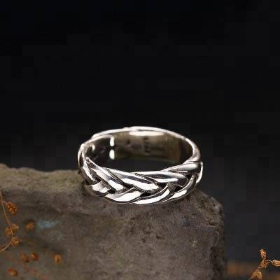 100% 925 Sterling Silver Retro Twist Weave Rings For Women Fashion Thai Silver Handmade Jewelry