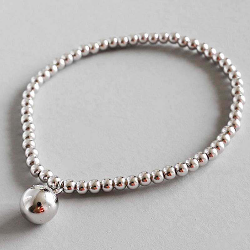 Hot Sale 100% 925 Sterling Silver Korea Style Simple Trendy Classical 3mm Beads Chain Bracelets Jewelry for Women