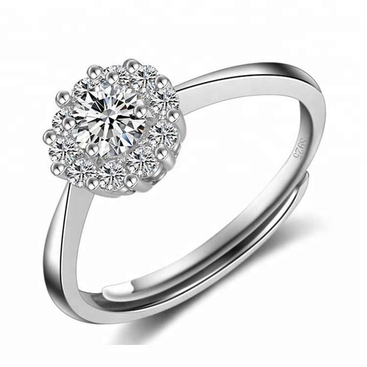 Processing 100% 925 Sterling Silver Zircon Adjustable Jewelry Wedding Ring For Woman Featured Image