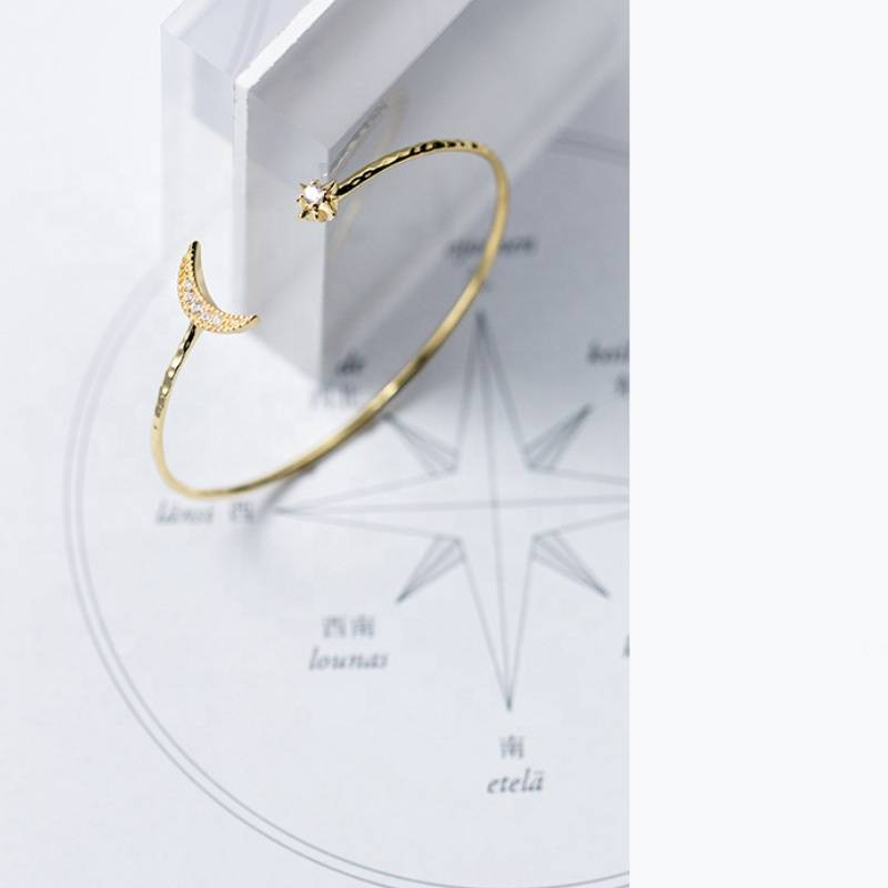 Open Adjustable 925 Sterling Silver Gold Star Moon Bracelet Bangle Jewelry