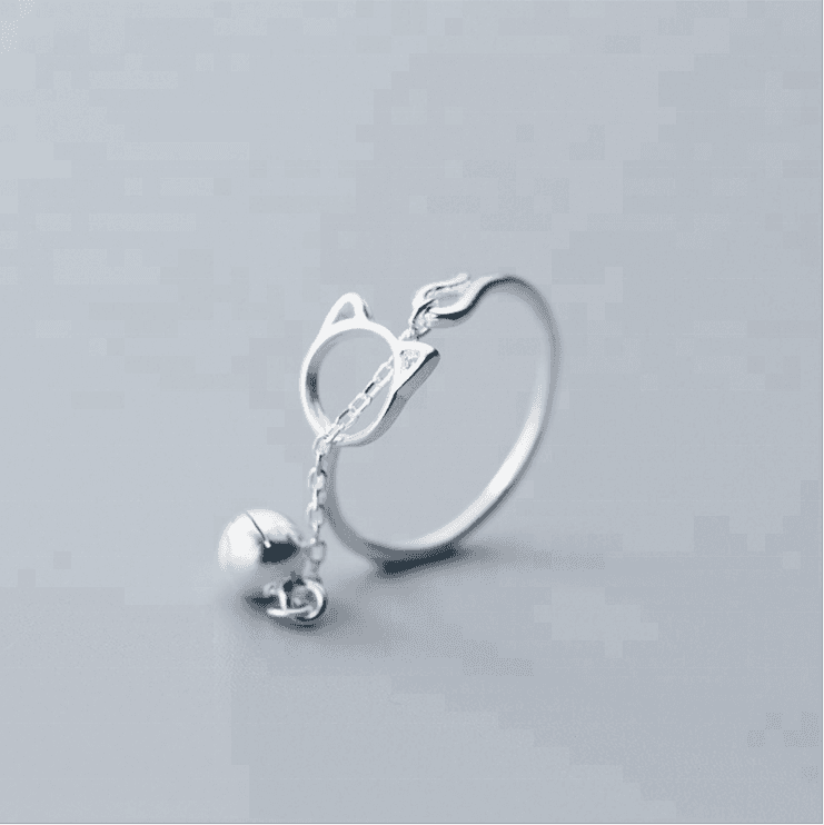 2018 Adjustable 925 Sterling Silver Hollow Animal Cat Bell Open Rings For Women Lady